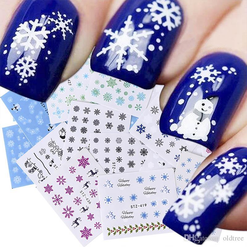 30 Teile/Paket 30 Teile / Satz Weihnachten Schneeflocke Aufkleber für Nägel Winter Reinweiß Schieberegler für Nägel Klebetransfer Wrap Nail Art Maniküre