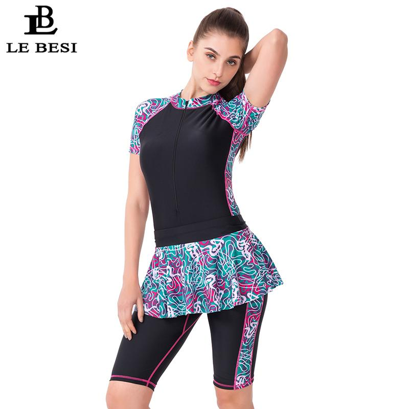 Lebesi Women Plus Size One Piece Swimsuit With Two Piece Skirt Professional Sports Bathing Suit With Sleeve Long Pants Monokini Y19072501