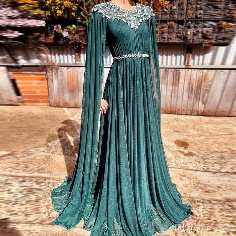 Abito da sera lungo in chiffon verde arabo con scollo a V verde cristallo con manica lunga gioiello collo con perline cintura abito da ballo lungo in chiffon 2019