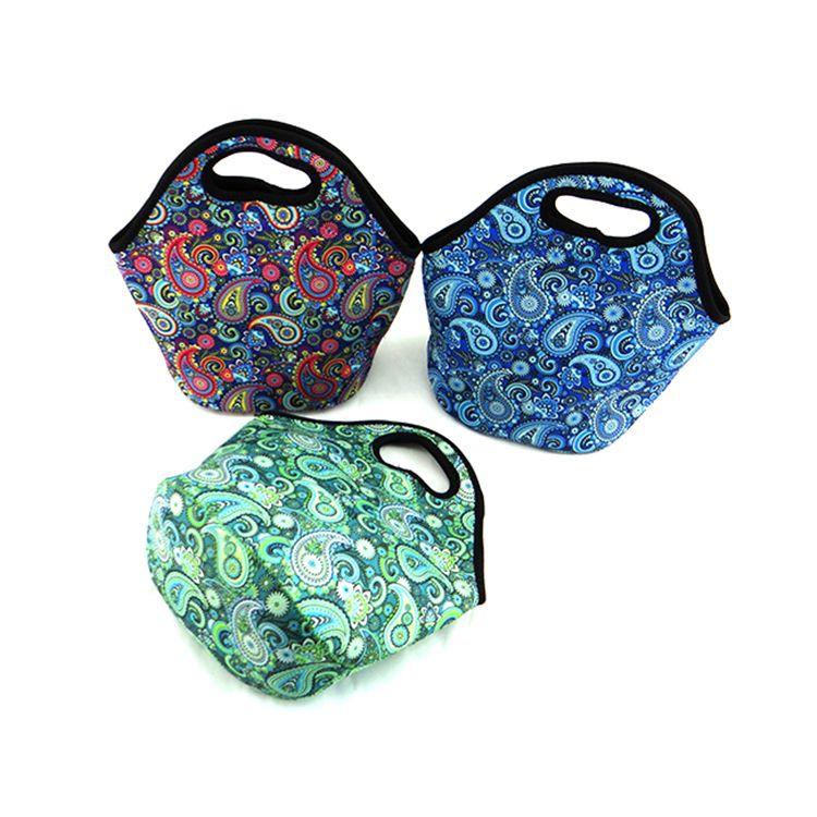مخصصة التسامي 3 مم Duarble النيوبرين أكياس الغداء سعة كبيرة قابل للغسل حمل الغداء الغذاء برودة حقيبة مع الطباعة كاملة