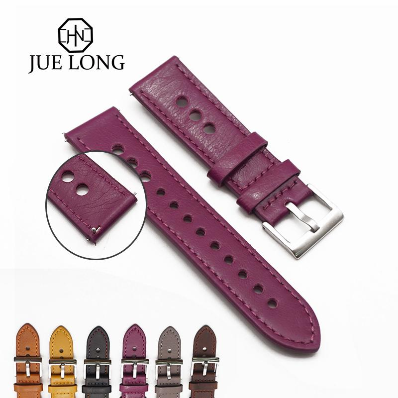 Hot Quality Accessories Watch Belt Pure Color Purple Genuine Leather Watch Strap 22mm