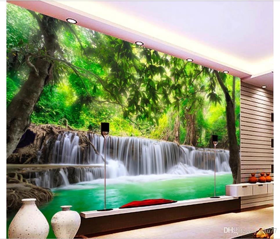 Decoração da parede de fundo papel de parede personalizado 3D seda foto papel de parede mural 3D HD Floresta Rio Cachoeira Sala TV Sofa Mural