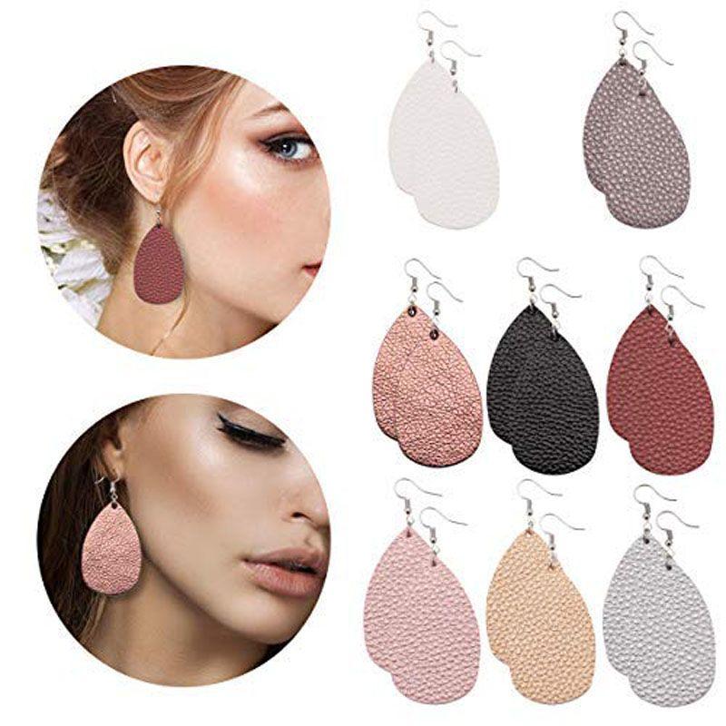 Fashion PU Leather Oval Earrings Fashion Statement Colorful Teardrop Earring Jewelry Gifts for Women Girls