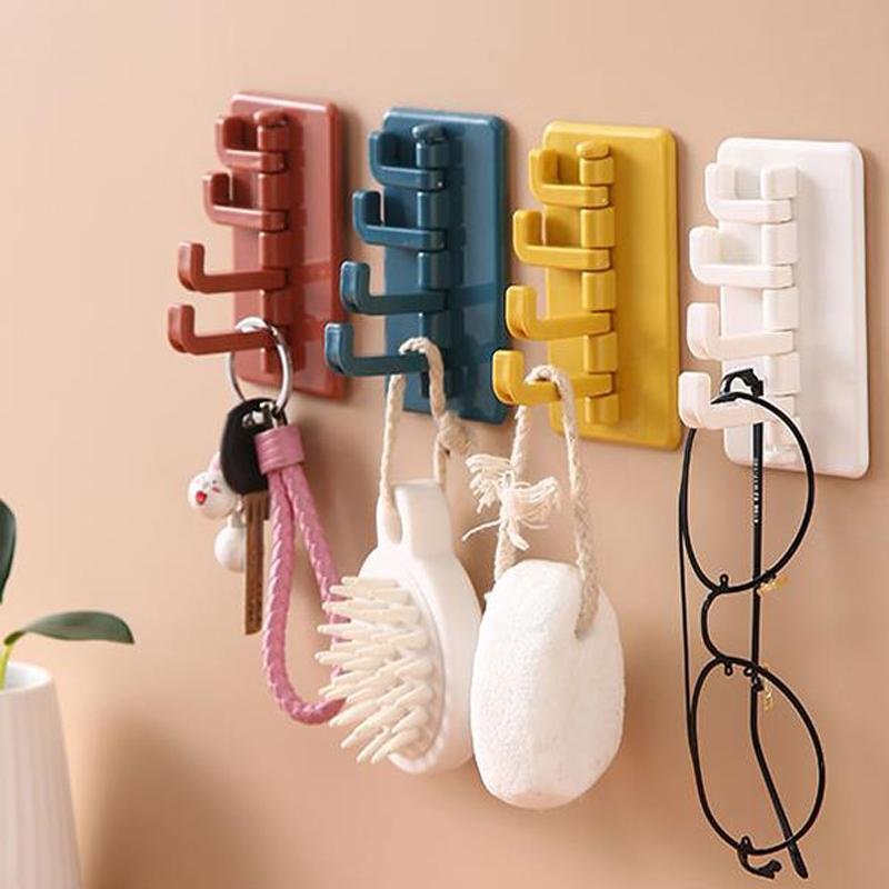 ABS Rotatable Hanger Seamless adesivo gancho Titular Cabide forte influência da vara gancho de toalha Kitchen Bathroom Wall rack