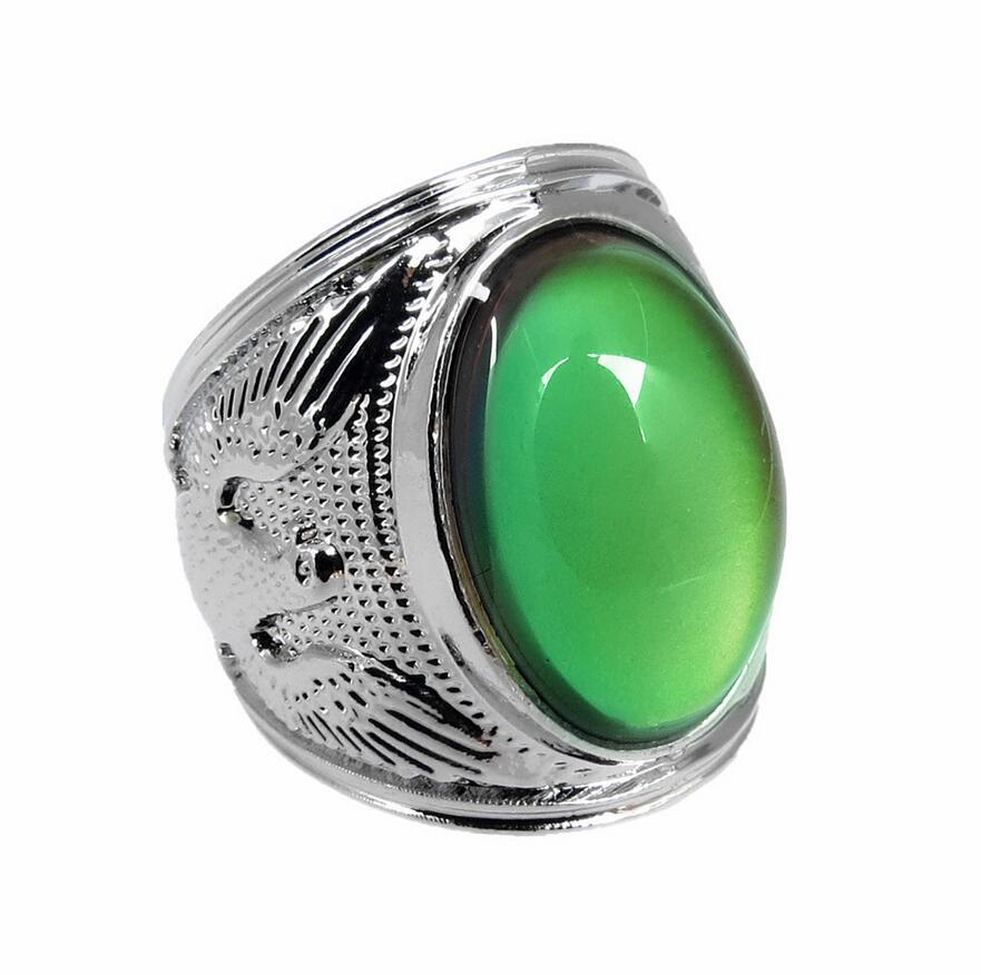 Men's Cool Eagle Color Change Mood Ring Gemstone Charm Emotion Feeling Changeable Ring Temperature Control Color Rings