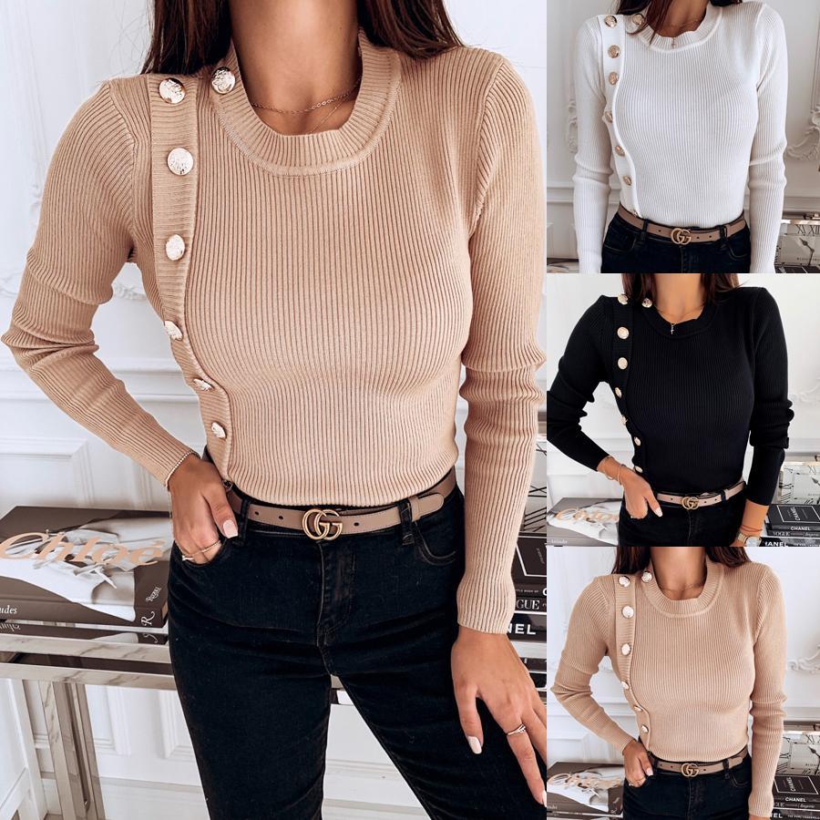 Frauen Pullover 2019 Herbst-Winter-beiläufiger gestrickter unregelmäßiger Knopf Pullover Pullover Langarm-O Neck Pullover Schlank Top Femme