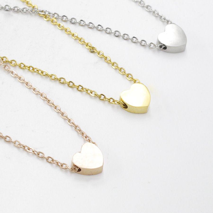 Moda amor corazón colgante collar para mujeres simple diseño clásico oro collar de oro acero inoxidable chokers collares fiesta boda joyería