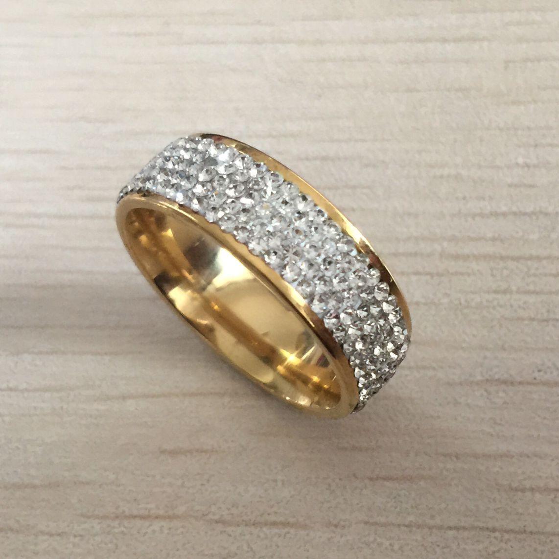 Hot 2020 de oro de acero inoxidable 316L blanca grande de circón compromiso de diamantes de cristal anillo de boda anillo para las mujeres de las muchachas de los amantes libres del envío
