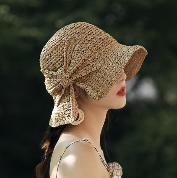 Raffia Bow Sun Hat Wide Brim Floppy Summer Hats For Women Beach Panama Straw Dome Bucket Hat Femme Shade Hat