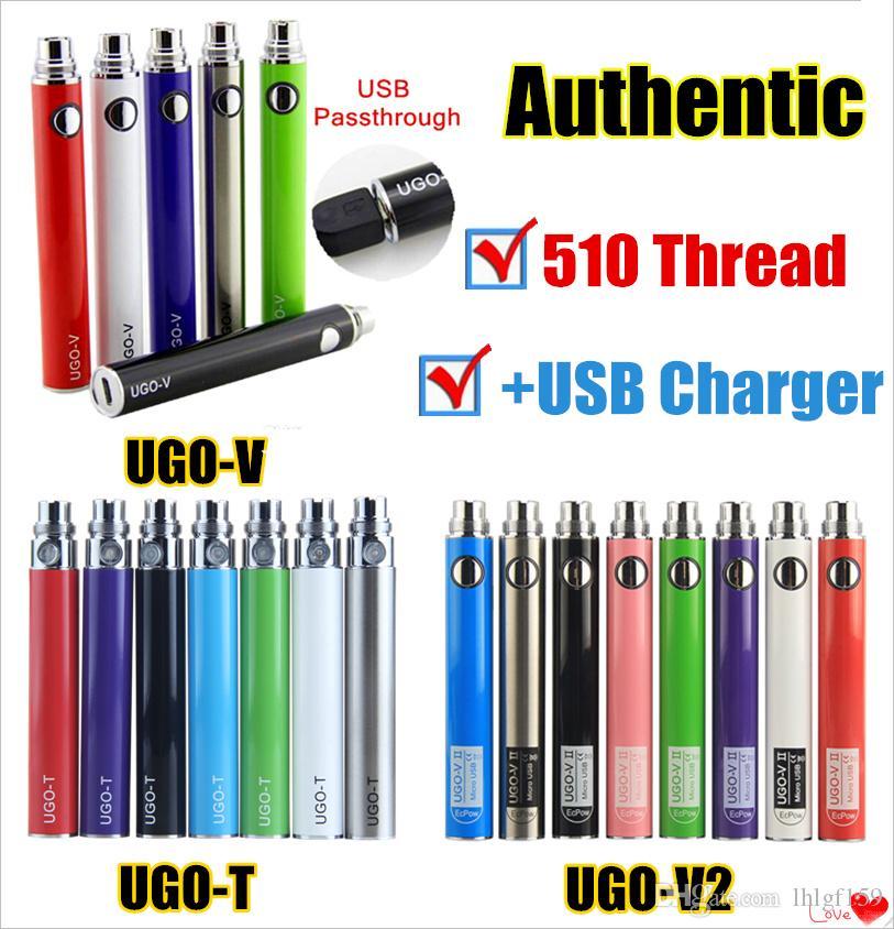 1Pcs Authentic UGO T V II 510 Thread Vape Battery EVOD eGo Micro USB Passthrough 650 900 1100 mAh Vaporizer With Charger Fit Vape Cartridges