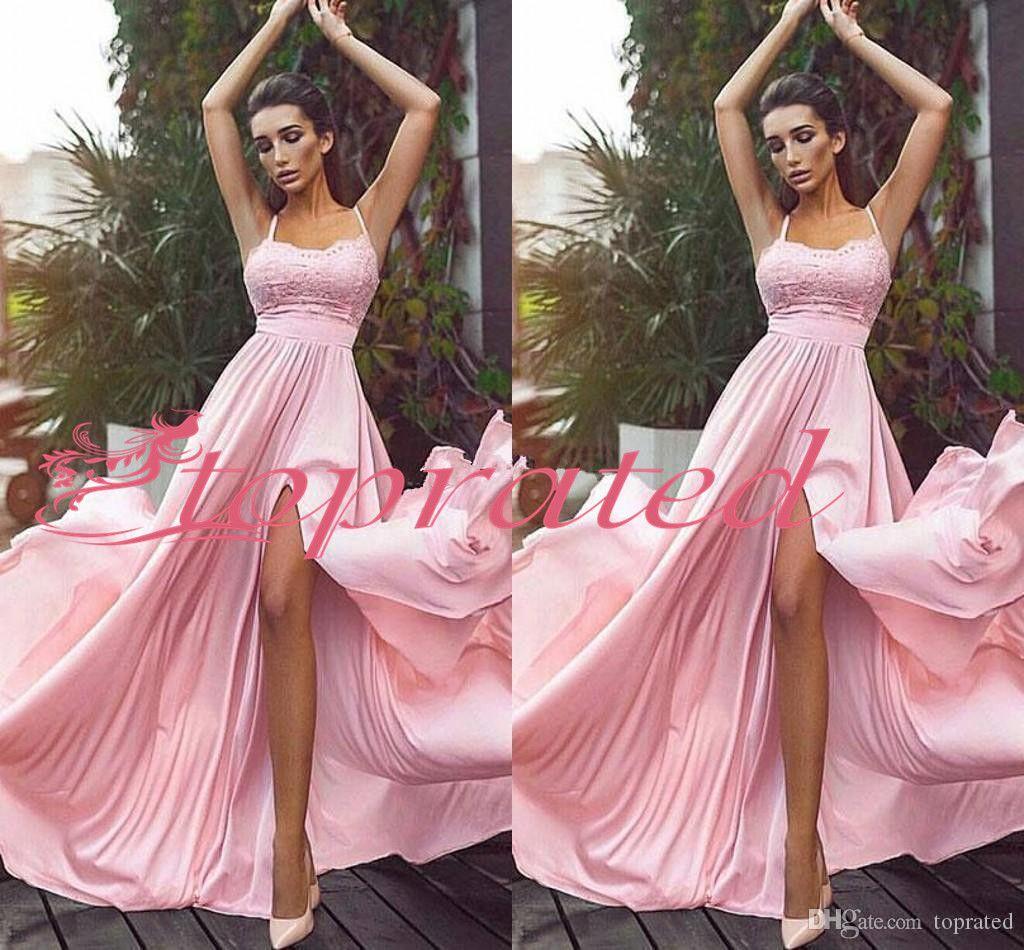 2020 Нового Split Розового Bridesmaids платья Спагетти Lace Top шифонового High щелевой Long Beach Boho Maid Честь Wedding Guest халаты Дешевые Настраиваемый