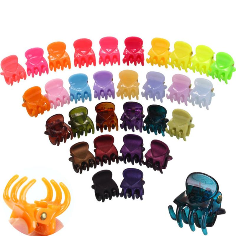 12PCS는 설정 / 여성 여자 헤어 발톱 클램프 다채로운 헤어 게 미니 솔리드 컬러 액세서리 여자 아이 클립