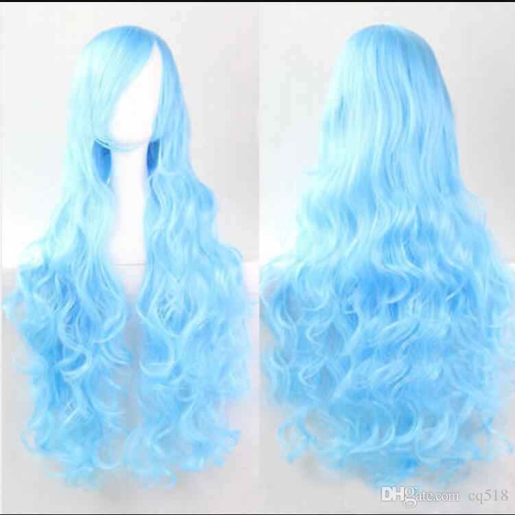 PERUK ücretsiz kargo Womens Moda Avrupa Uzun Kıvırcık 80 cm Dalgalı Peruk Cosplay Parti Su Mavi