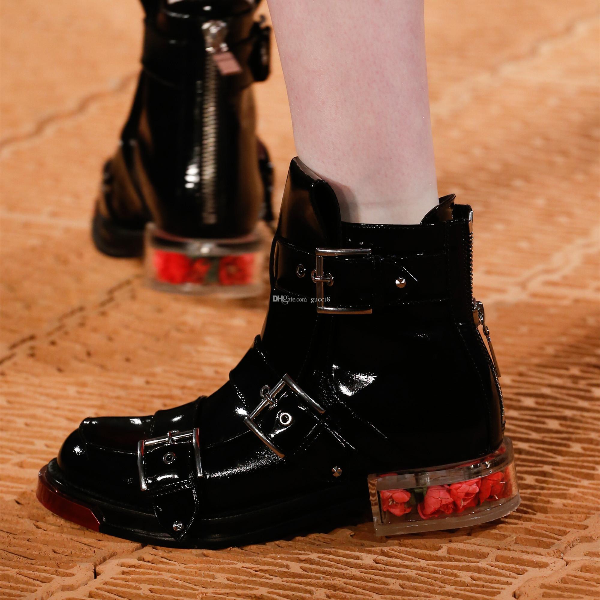 Queda Milan Inverno T Mostrar Transparant botas curtas étnico Ridding Bota Buckle Martin Shoes