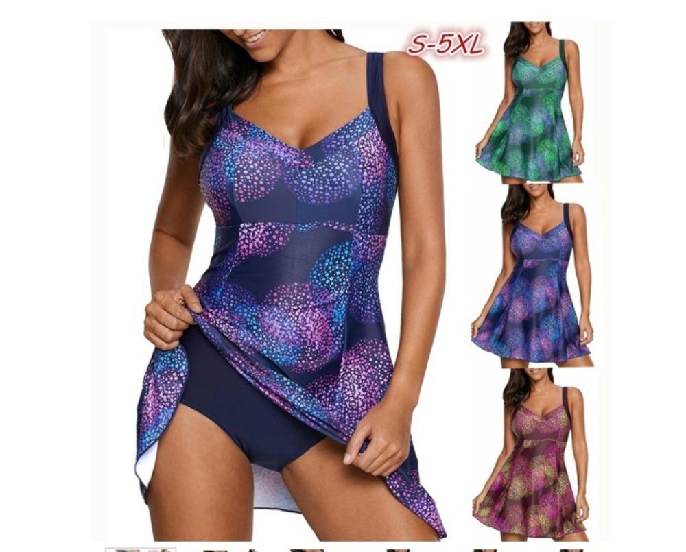 Nova impressão spray colorido Two Piece Swimsuit Tankini Plus Size Swimwear Para Fat Mulheres calças curtas Tamanho Grande fato de banho biquini 5XL