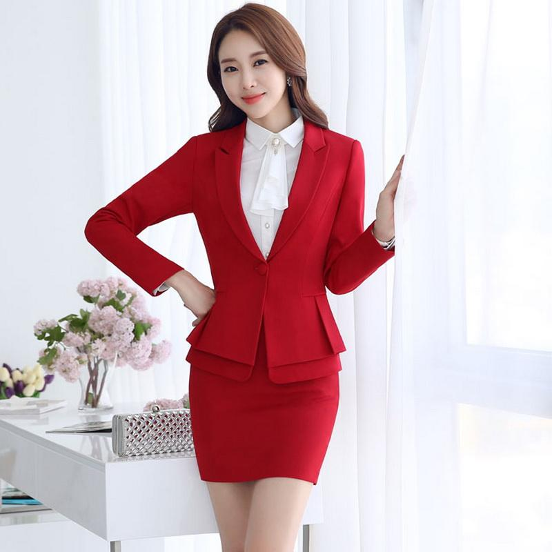 Plus Size 3XL New 2017 Fashion Spring Autumn Women Formal Business Suits Female Suit Coat And Skirt 2pcs Sets Black Red Gray