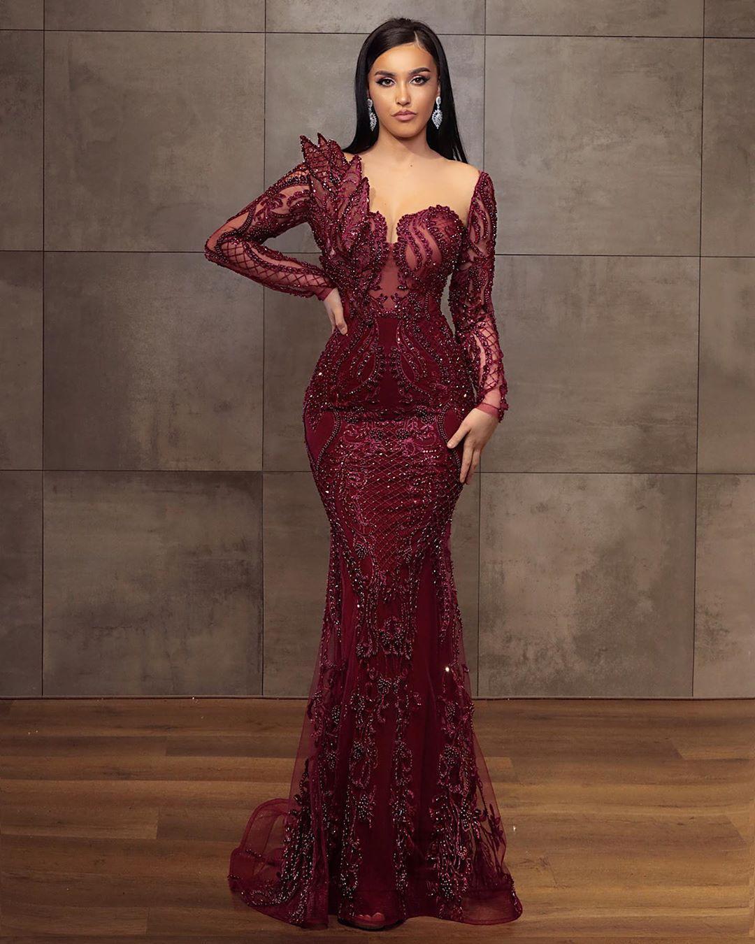 2020 noche moldeado del árabe Aso Ebi Borgoña vestidos de encaje de la sirena Sheer cuello vestidos de baile de manga larga formal del partido de segunda Vestidos Recepción