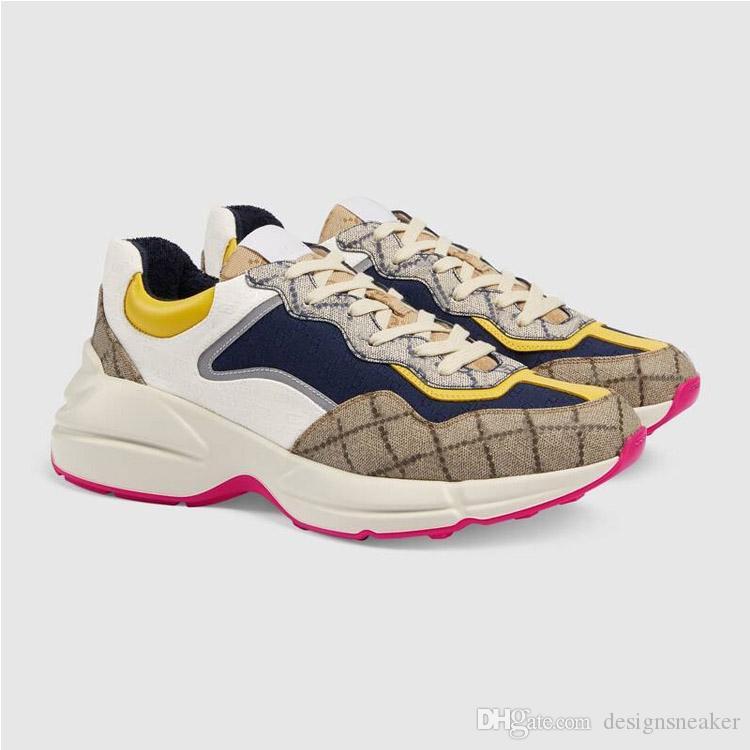2020'li Koleksiyonu Erkekler Kadınlar Rhyto Sneaker simgeleşmiş Baskılı Sneaker Retro Trainer Moda Baba Elbise Ayakkabı Sneakers 35-45