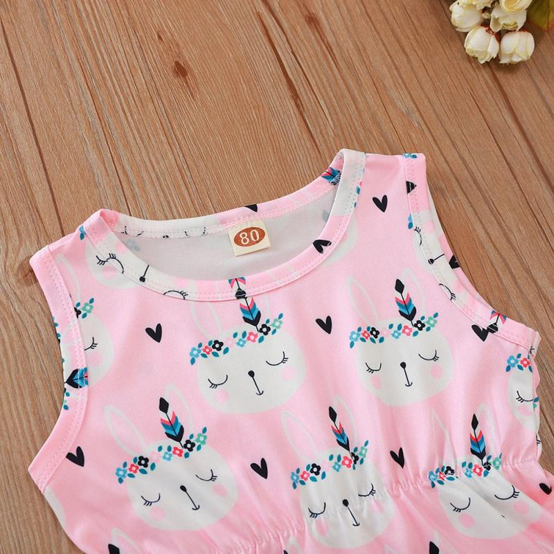 Romper Hair Band 2 Pcs Baby Girl Clothes Rabbit Print Easter Sleeveless Fringed Small Ball Jumpsuit Romper