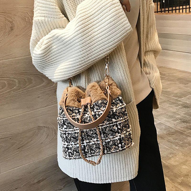 Designer-Fashion Handbag Woolen Sale Drawstring Bag Bags Messenger Shoulder Bag Hot Crossbody Cloth Purses Women Bucket Bdonm