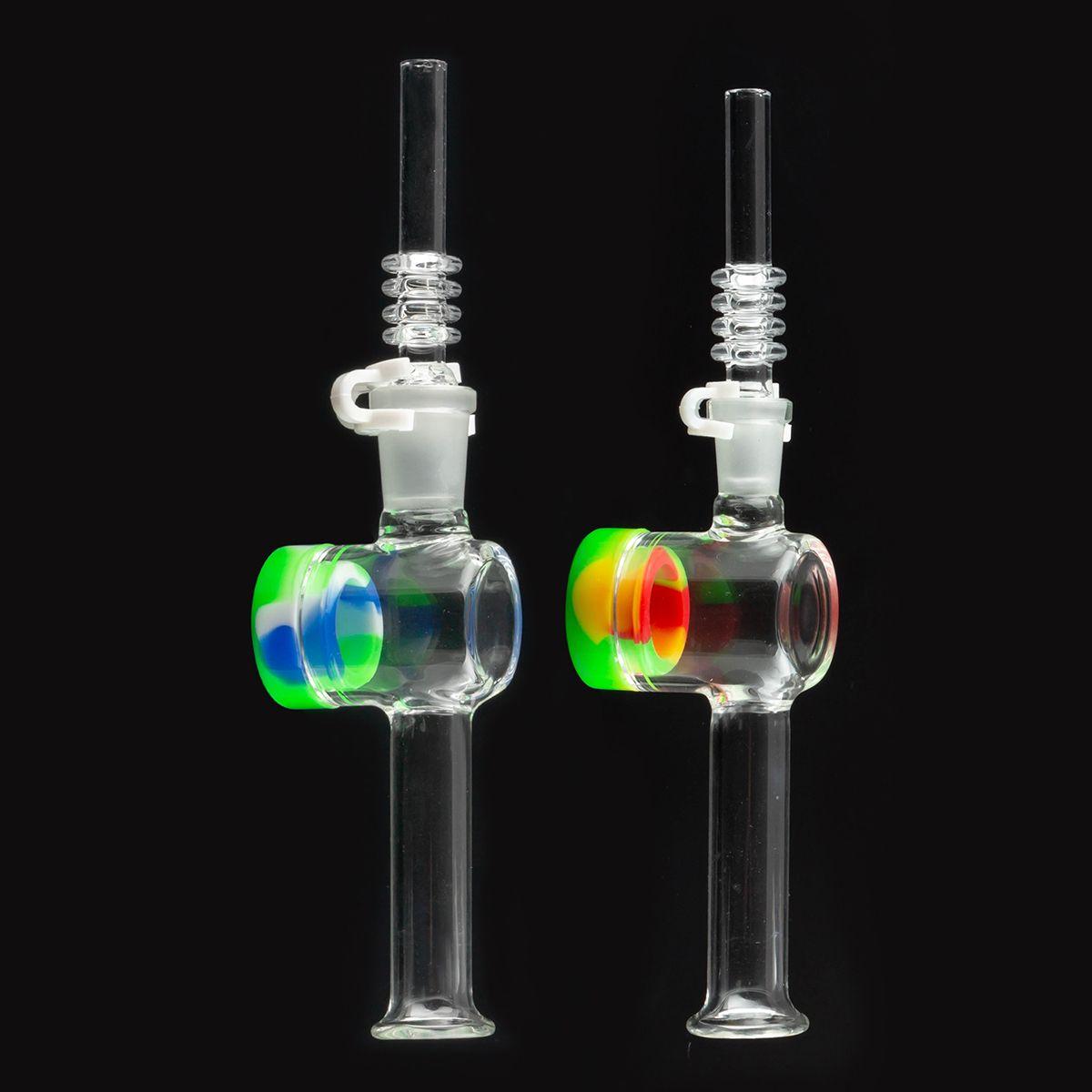 Mini Nectar vidro água Bong Collector Kit com 10 milímetros 14 milímetros de quartzo Dicas Keck Clipe Container Recuperadora Nector Collector Kit para Fumar