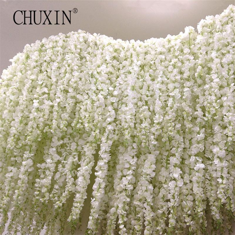 11pcs artificielle fleur Wisteria vigne 120cm unique Silk140 Fleurs série bricolage usine Décoration de mariage pour mur SH190928 fond