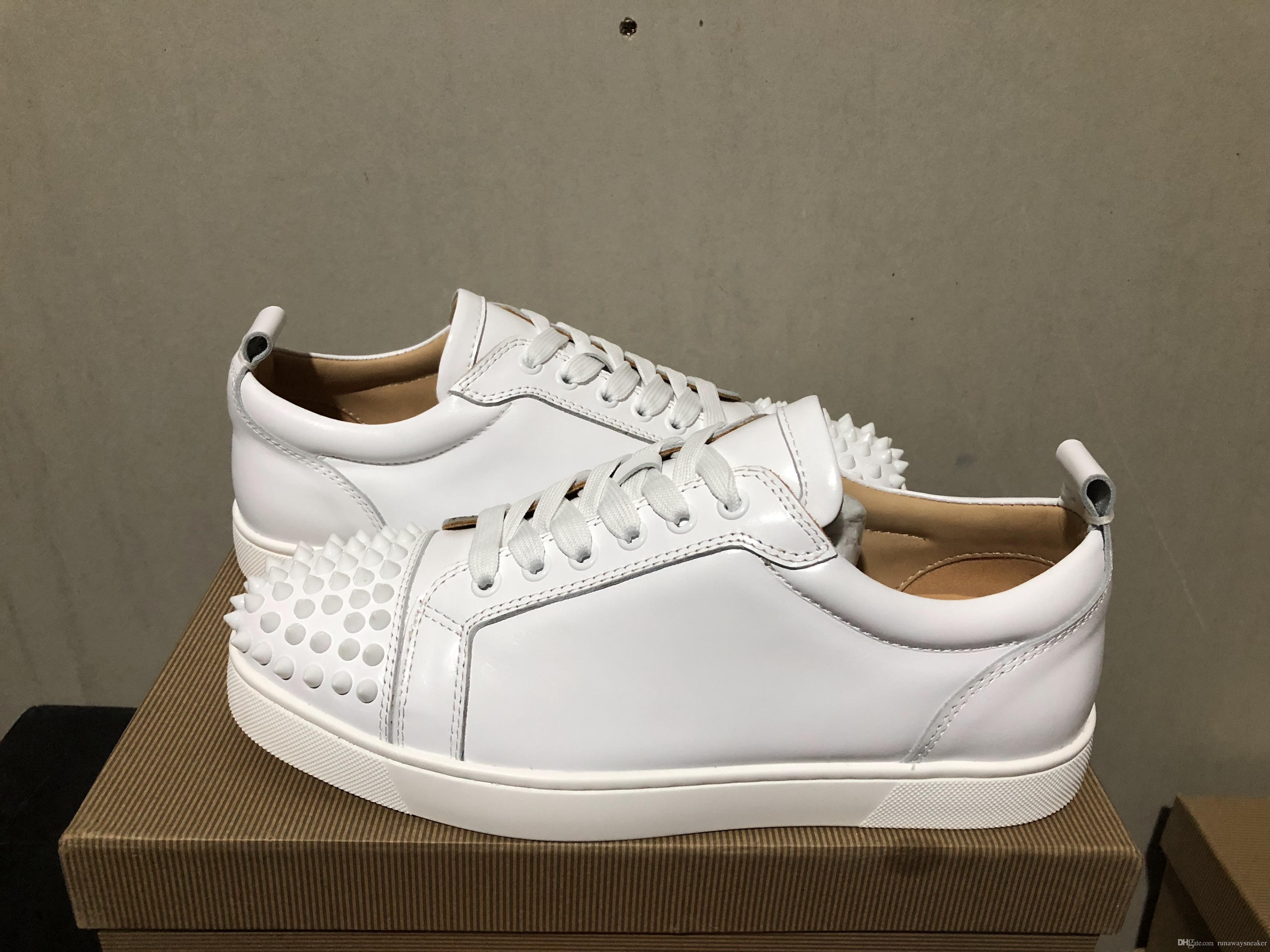 Los zapatos del diseñador de alta calidad para hombre rojo de las mujeres fondos junior Spikes planas zapatillas de deporte zapatos de vestir del cuero genuino de la moda de París con la caja