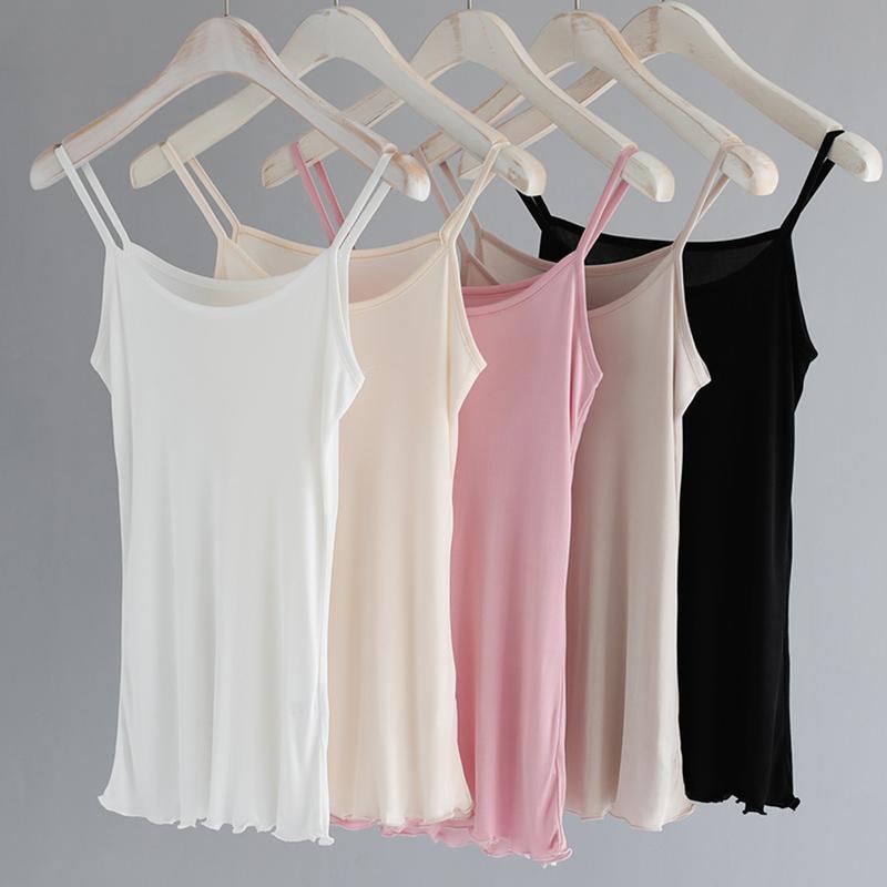Camisoles pour femmes naturel réel soie camisoles sexy dos nu en tête singlet femme lingerie sous-vêtements maillot réservoir dames tops été Y200701