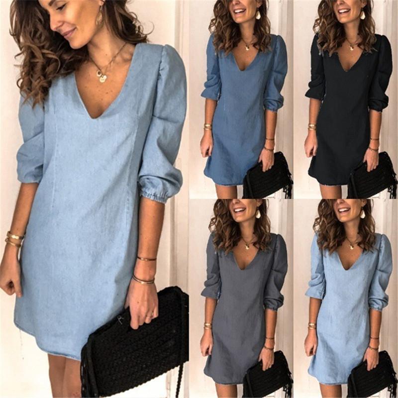 V Yaka Oversize Bayan Elbise Yaz Kısa Kollu Gevşek Casual Bayan Tasarımcı Denim Elbiseler Buyuk Ölçekli Bayan Giyim