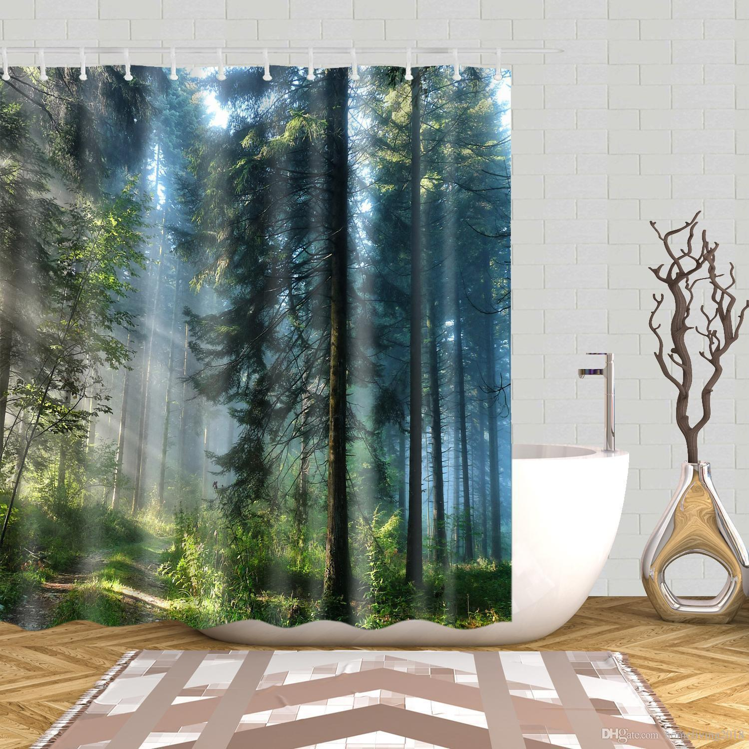 2019 Shower Curtain With Hooks Waterproof Mildewproof Bath Curtain From Dayao01 23 18 Dhgate Com