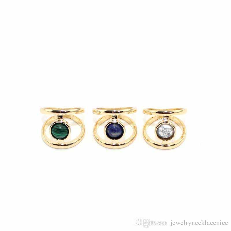 Mode Blanc Turquoise Bague pour femmes Bijoux en or pierre naturelle malachite bleu Géométrie ronde Howlite Bague