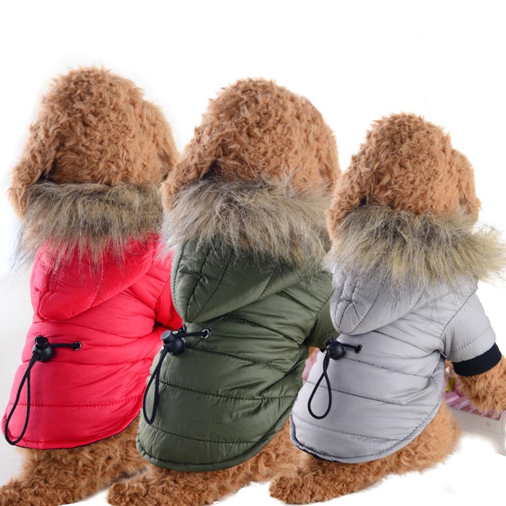 Invierno del perro casero por la chaqueta chaqueta impermeable para mascotas perro de perrito del chaleco caliente suave abrigo de invierno ropa para perros 3 colores XS-XL