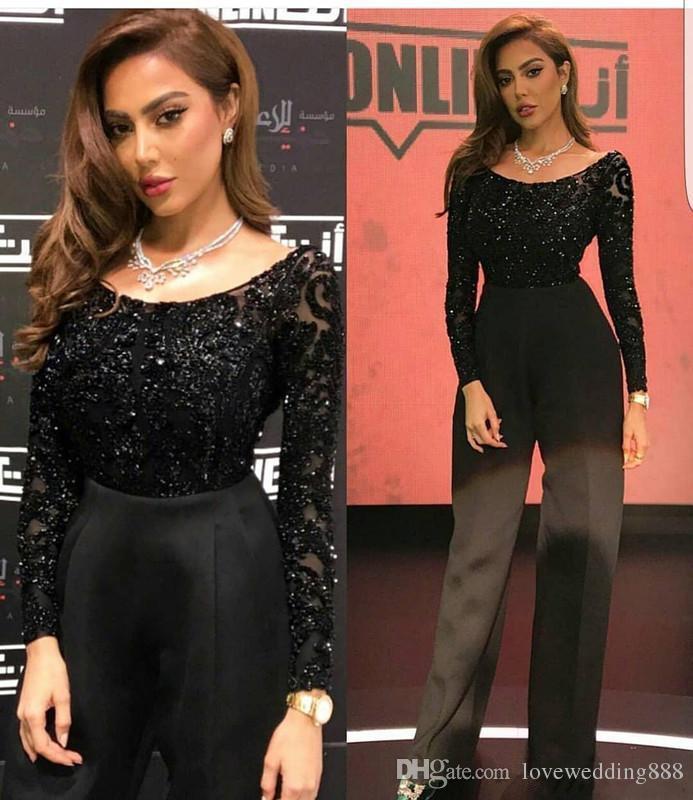 2019 Mütevazı Siyah Tulumlar anne Gelin Elbiseler Sparkly Uzun Kollu Scoop Parti Abiye giyim Pantolon Suit Örgün Elbise