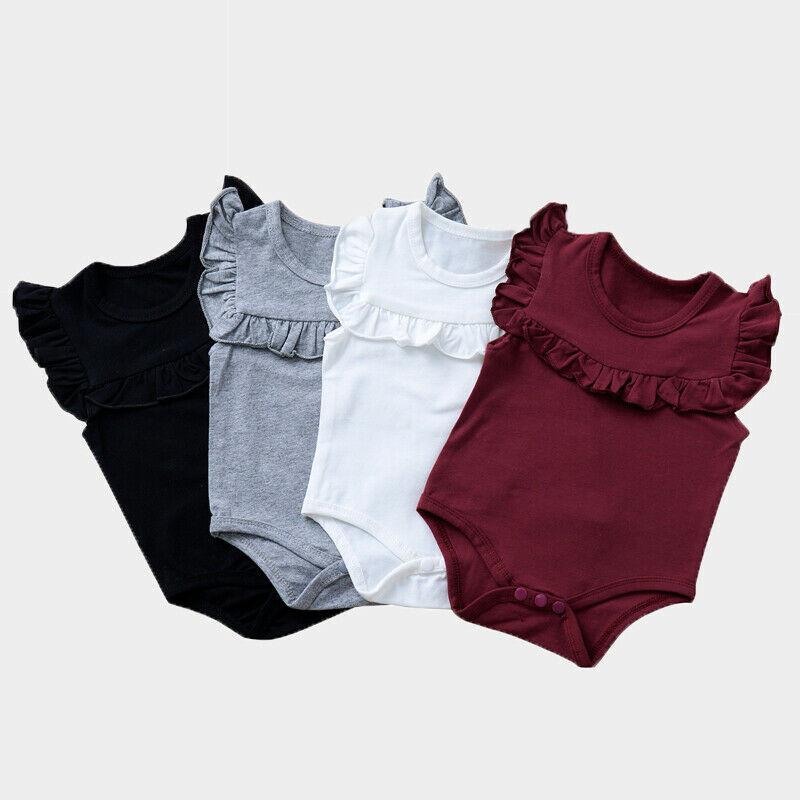 0-18 Monate Baby-Mädchen-Bodysuit-Overall Solide Ruffle ärmelKinderKostüm sunsuit Outfit Kleidung Neugeborene