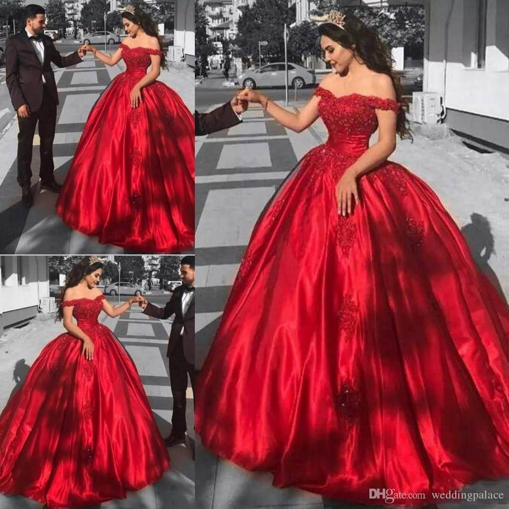 Mais novo modesto vestido de baile vermelho quinceanera vestidos fora-ombro lace apliques lantejoulas querida vestidos de noite vestidos de baile doce 16 vestidos