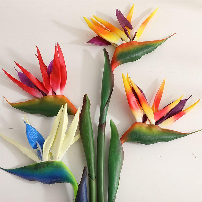 Artificial flower Bird of paradise Strelitzia floor fake flower feel green plant decoration flower for room wedding party 80cm