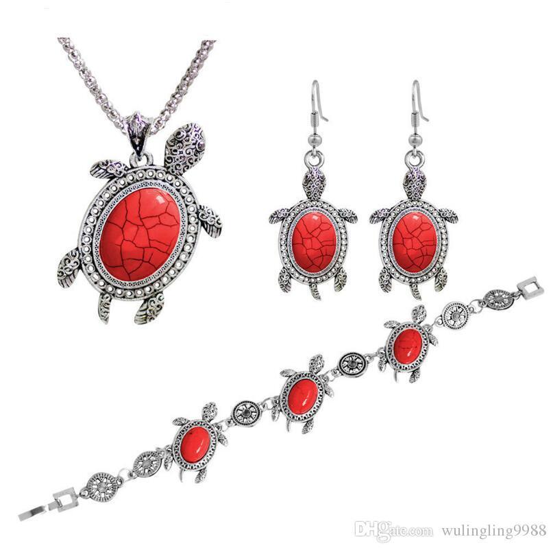 Aspecto vintage antiguo plateado plateado lindo tortuga colgante collar turquesa pulsera pendientes joyas conjunto de joyería animal 3 colores