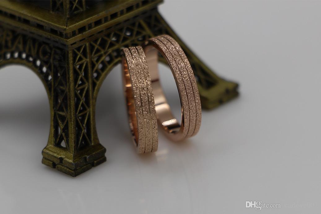 2019 Novo par de anel de moagem de areia de duas linhas 18K ouro rosa par de dedo pequeno versão coreana da moda primeira jóia