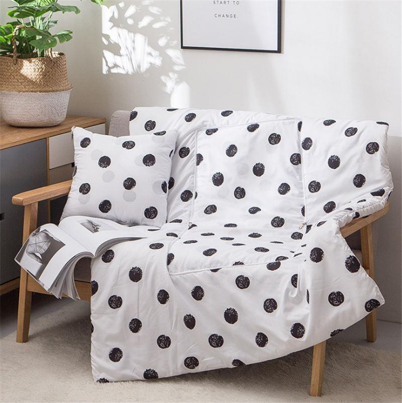 white dots 2-in-1 Throw Pillows Blanket Throw Quilt Polyester Cotton for Home Airplane Car Travel Movies Kids Beach Camping Blanket