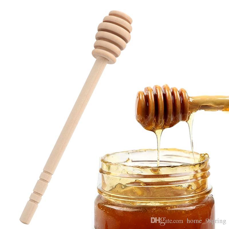 Longo Handle Madeira Mel Colher De Geléia De Mel Drizzler Servidor De Madeira Honey Dipper Vara para o Frasco de Mistura Colher de Chá de Abastecimento de Cozinha Gadgets