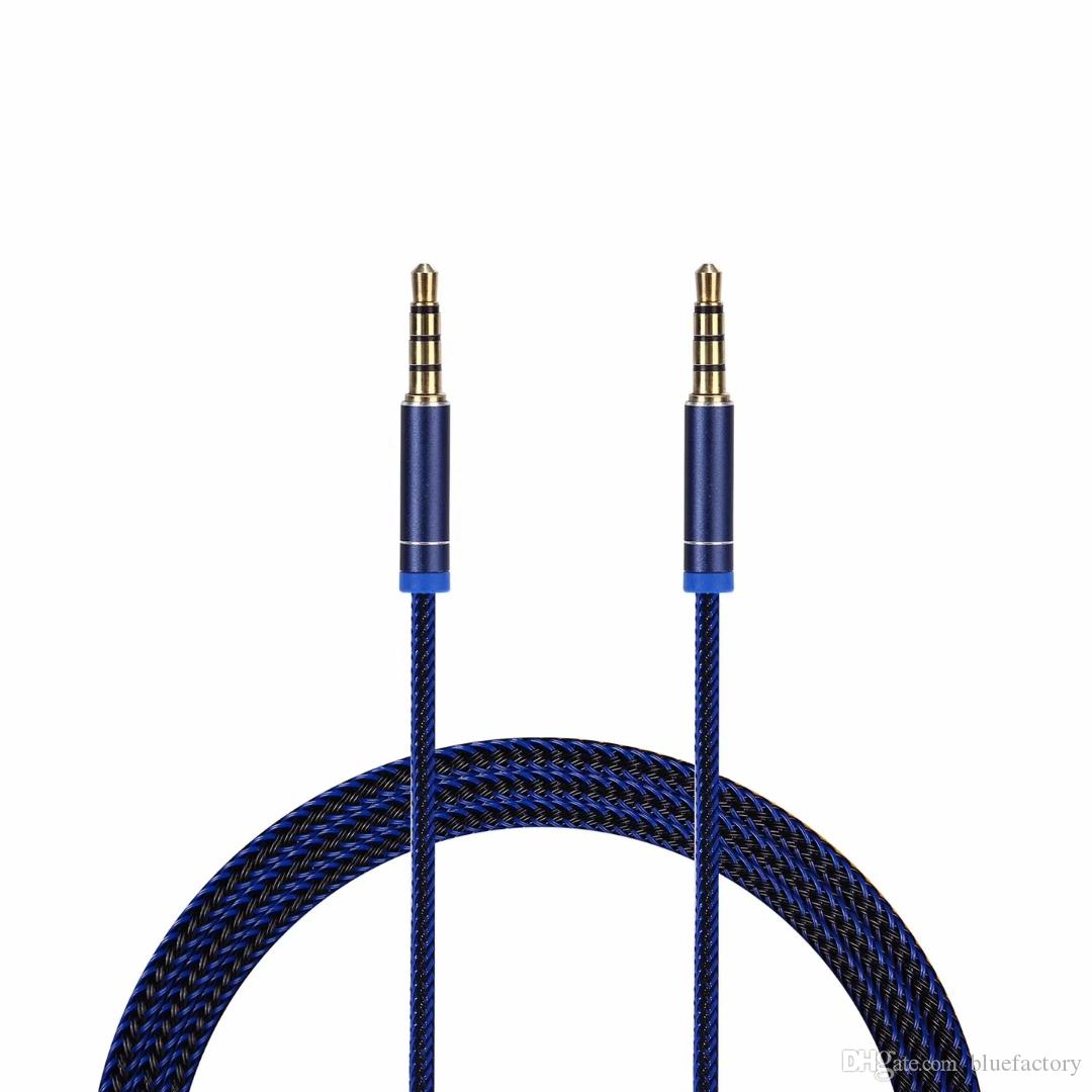 1M 3.5mm Jack To Jack AUX Stereo Plug Braided Lead Male Audio Auxiliary Cable