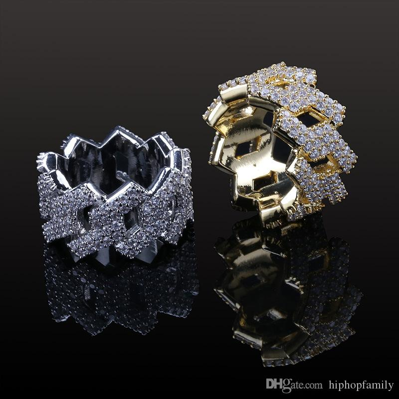 Luxury Designer Iced Out Full Diamond 18K Gold Plated Mens Ring Jewelry Hip Hop Jewelry
