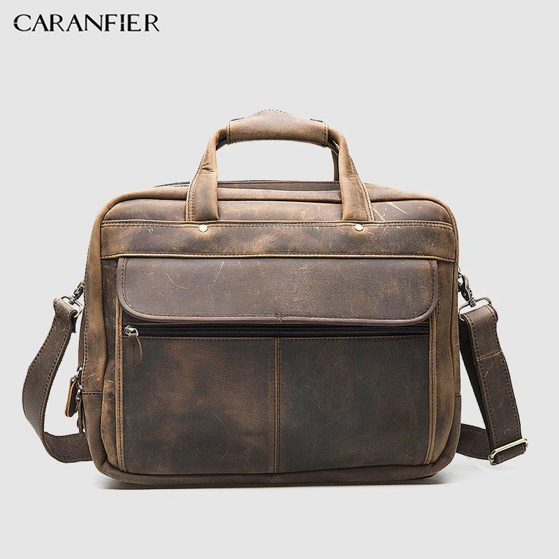 CARANFIER Retro Mens Briefcase First Layer of Leather Men Business Packs 16-inch Laptop Shoulder Zipper Bags