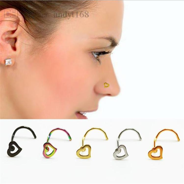 2020 Fashion Heart Shaped Crooked Hook Nose Nail Stainless Steel
