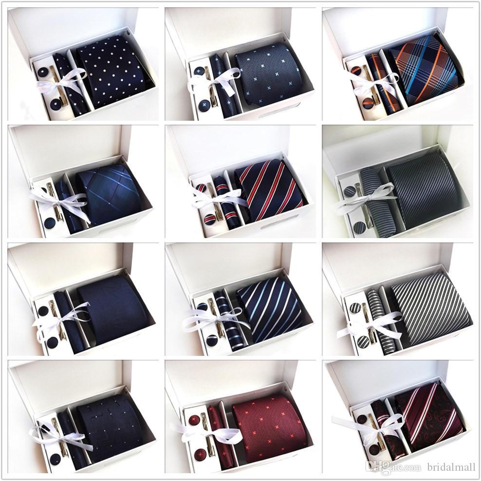 Son Tasarımcılar erkek Kravat Nokta Hediye Kutusu 6 Parça Suit Grup Kravat Iş Elbise Düğün Kravat Kol Düğmeleri Yay Klip Stokta