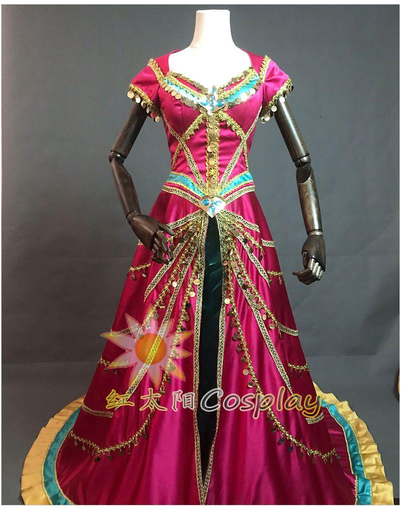 Kadın yetişkinler bayanlar yasemin Aladdin taç giyme kostümü kostüm karikatür karakter cosplay prenses sıcak pembe cosplay ...