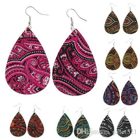 Totem Leder Ohrringe Teardrop Ohrring Leichte Kunstleder Blatt-Ohrringe Mandala drucken Petal-Tropfen-Ohrringe für Mädchen / Damen