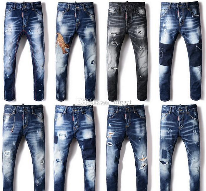 Vintage Mens Stretch Denim Long Pants Jeans Faded Slim Fit Skinny Biker Trousers