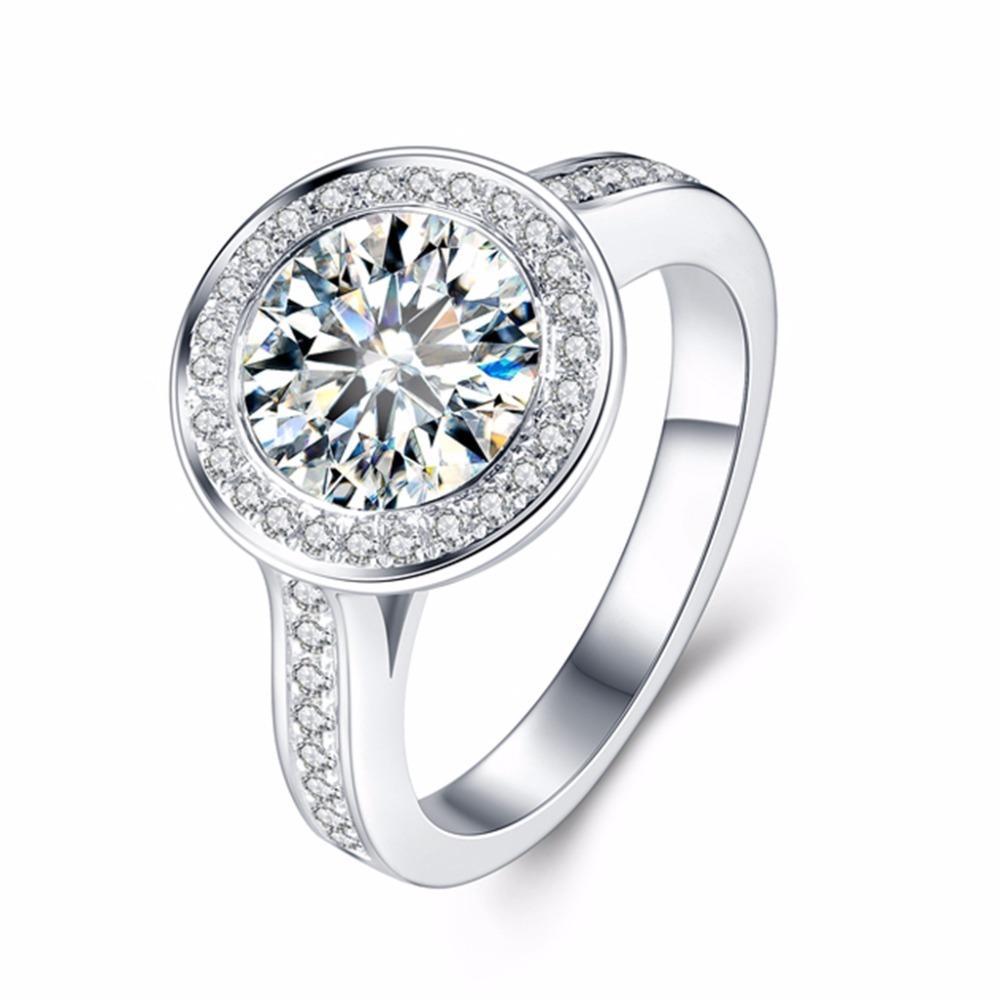 Moissanite Bague en diamant 5Carat ct 11mm ronde solitaine diamant Lab Cut 14K or blanc 585 EngagementWedding pour femmes S200110
