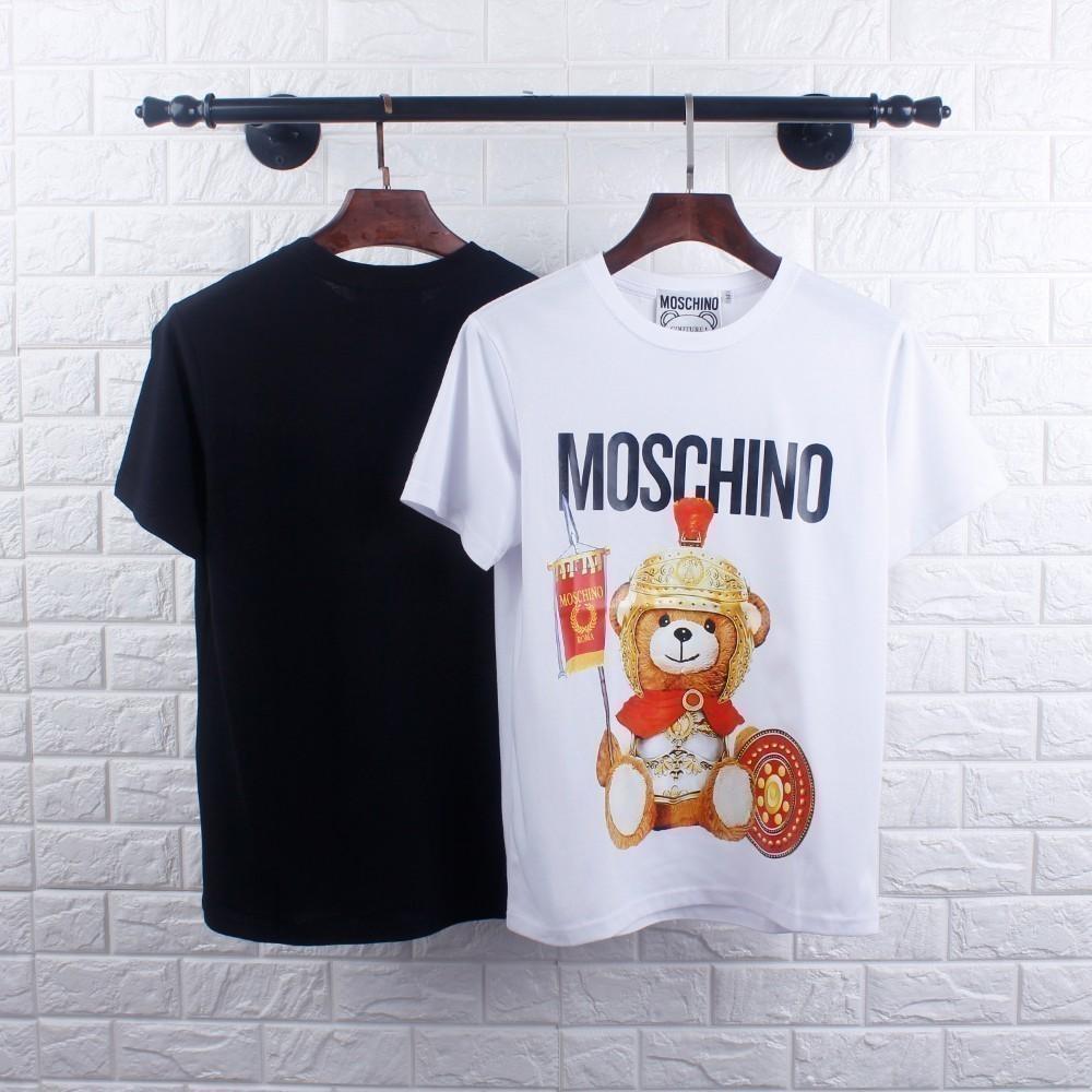 Nueva camiseta de hombre Slim fit personalidad estampado de oso pareja verano esencial medio mangas de manga